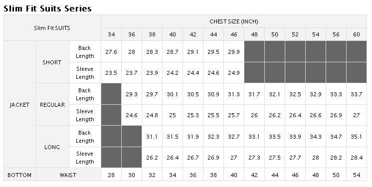 Slim Fit Suits Size Chart